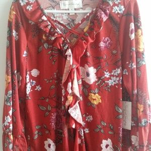 *NEW* FRENCH LAUNDRY 3x Women's Red Orange Floral